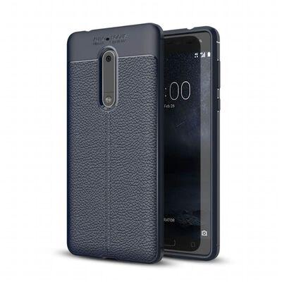 Läder mönstrat TPU skal Nokia 5 (TA-1053) Blå