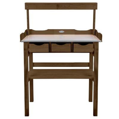 Esschert Design Planteringsbord med låda och hylla brun