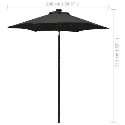 vidaXL Parasoll med LED-lampor svart 200x211 cm aluminium