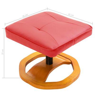 vidaXL Snurrbar TV-fåtölj med fotpall röd konstläder, Röd