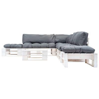 vidaXL Pallsoffa 6 delar med grå dynor trä