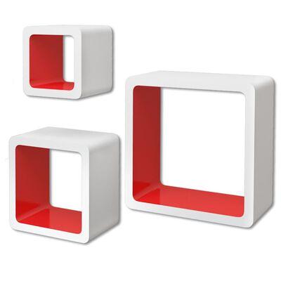 vidaXL Vägghyllor kub 6 st vit och röd
