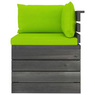vidaXL Pallsoffgrupp med dynor 5 delar massiv furu, bright green