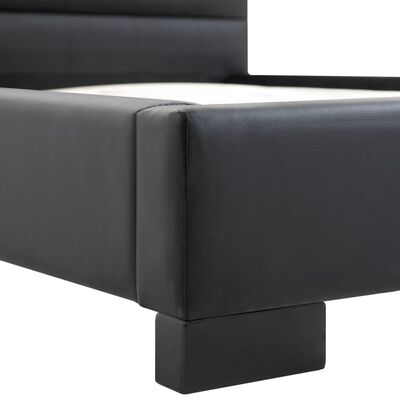 vidaXL Sängram svart konstläder 90x200 cm, Svart