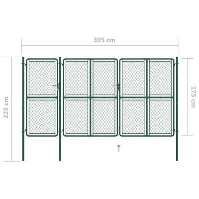 vidaXL Trädgårdsgrind stål 175x395 cm grön,