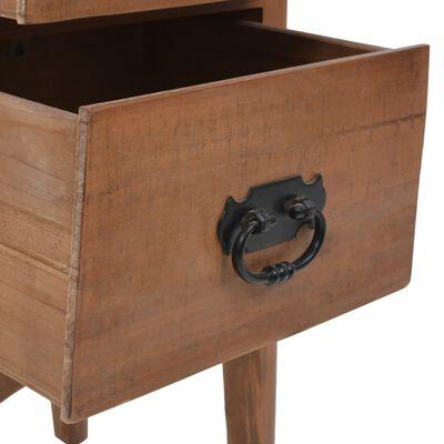 vidaXL Sängbord massivt granträ 40x29x68 cm brun