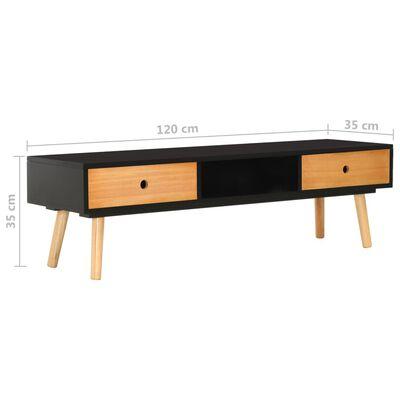 vidaXL TV-bänk svart 120x35x35 cm massiv furu