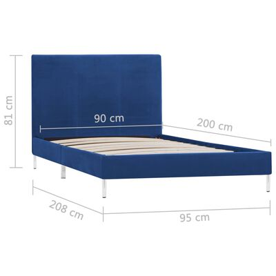 vidaXL Sängram blå tyg 90x200 cm, Blå