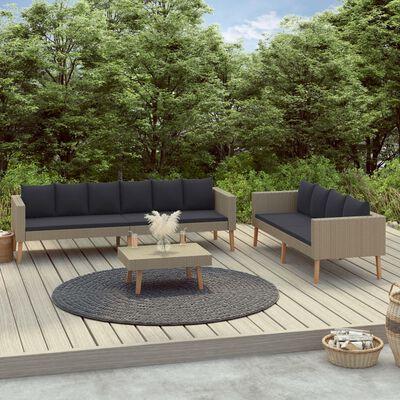 vidaXL Loungegrupp för trädgården med dynor 3 delar konstrotting beige