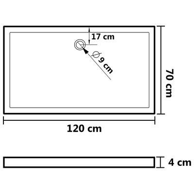 vidaXL Duschkar rektangulärt ABS svart 70x120 cm