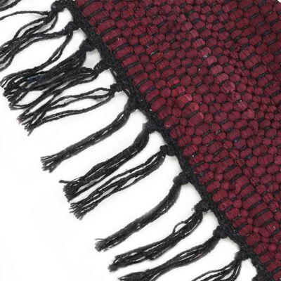 vidaXL Handvävd matta Chindi bomull 200x290 cm vinröd