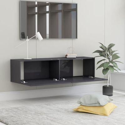 vidaXL TV-bänk grå högglans 120x30x30 cm spånskiva