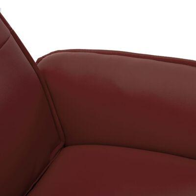 vidaXL Reclinerfåtölj med fotpall vinröd konstläder