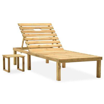 vidaXL Solsäng med bord impregnerad furu