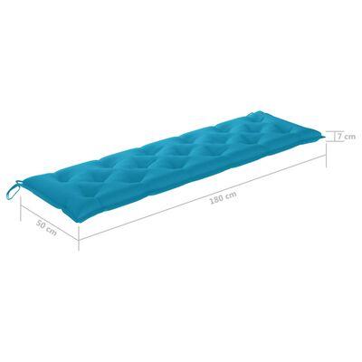 vidaXL Trädgårdsbänk med ljusblå dyna 175 cm massiv teak