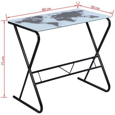 Skrivbord i glas med världskarta-design