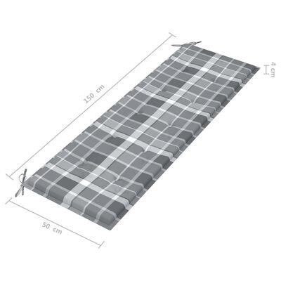 vidaXL Trädgårdsbänk med grårutig dyna 150 cm massiv teak