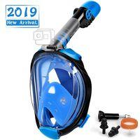 Helmask cyklop med snorkel och GoPro fäste - svart/blå - S/M