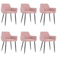 vidaXL Dining Chairs 6 pcs Pink Velvet (3x323108)
