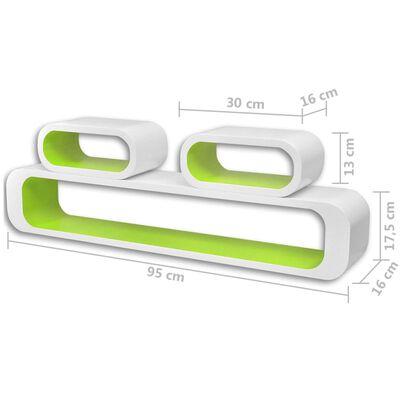 vidaXL Vägghyllor kub 6 st grön och vit