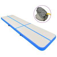 vidaXL Uppblåsbar gymnastikmatta med pump 600x100x15 cm PVC blå