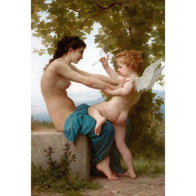 Girl Defending Herself,Adolphe William Bouguereau,60x40cm