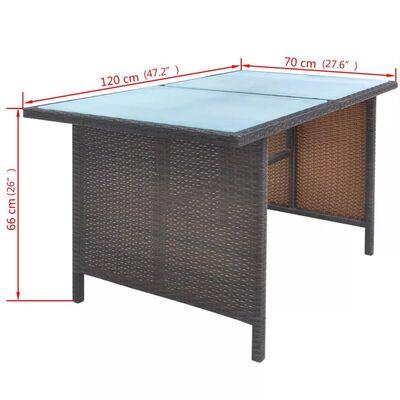 vidaXL Matgrupp för trädgården med dynor 6 delar konstrotting brun