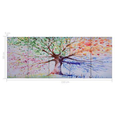 vidaXL Canvastavla regnträd flerfärgad 150x60 cm