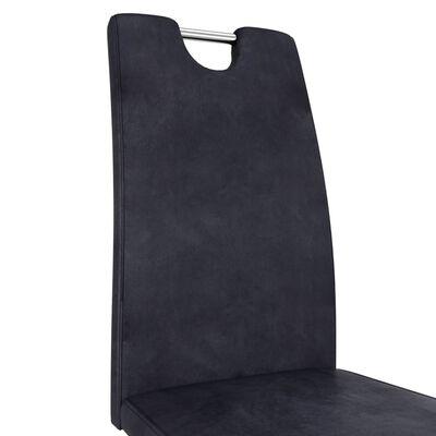 vidaXL Matstolar med sicksack-form 6 st grå konstmocka