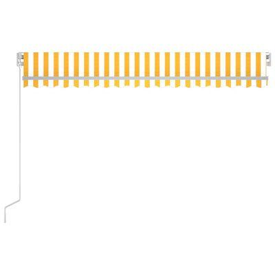 vidaXL Markis manuellt infällbar 450x350 cm gul och vit