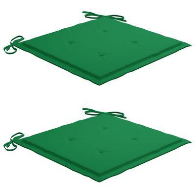 vidaXL Hopfällbara trädgårdsstolar med dynor 2 st massivt akaciaträ, Green