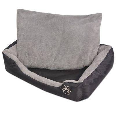 vidaXL Hundbädd med vadderad kudde storlek XL svart