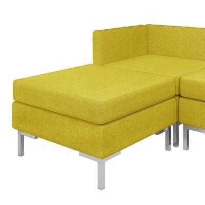 vidaXL Soffgrupp 9 delar tyg gul