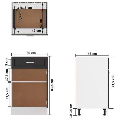 vidaXL Underskåp med låda grå 50x46x81,5 cm spånskiva