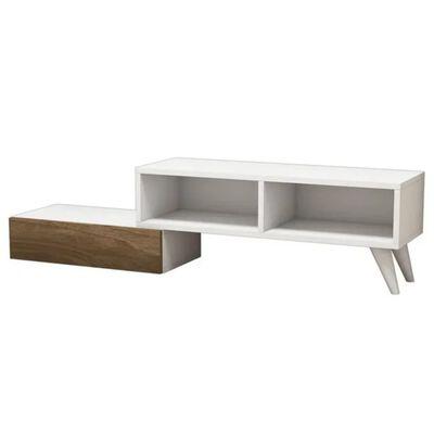 Homemania TV-bänk Active 140x29,7x35 cm vit och valnötsträ