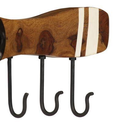 vidaXL Klädhängare med 6 krokar massivt sheshamträ 108x6x19 cm