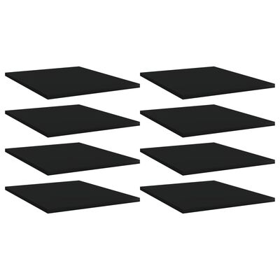 vidaXL Hyllplan 8 st svart 40x50x1,5 cm spånskiva
