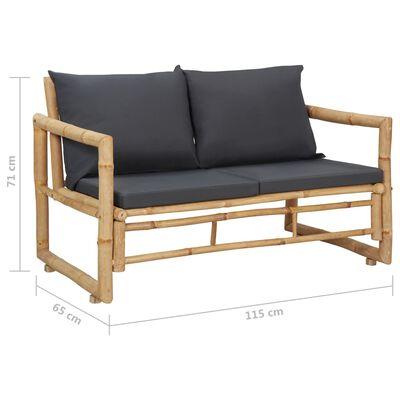 vidaXL Trädgårdsbänk med dynor 115 cm bambu