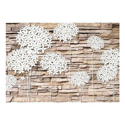 Fototapet - Flowers On The Stone - 100x70 Cm