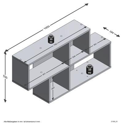 FMD Väggmonterad hylla med 4 fack ek och vit högglans
