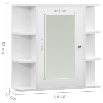 vidaXL Spegelskåp för badrum vit 66x17x63 cm MDF