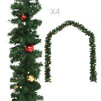 vidaXL Julgirlanger 4 st med julkulor grön 270 cm PVC