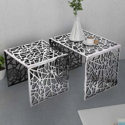 vidaXL Tvådelat sats-sidobord fyrkantigt aluminium silver