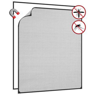 vidaXL Magnetiskt insektsnät för fönster antracit 100x120 cm fiberglas