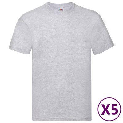 Fruit of the Loom Original T-shirt 5-pack grå stl. M bomull