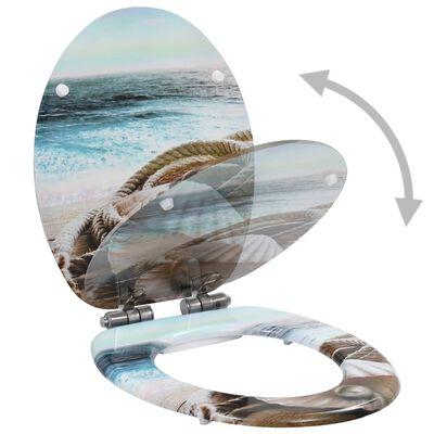 vidaXL Toalettsitsar med mjuk stängning 2 st MDF havsmussla