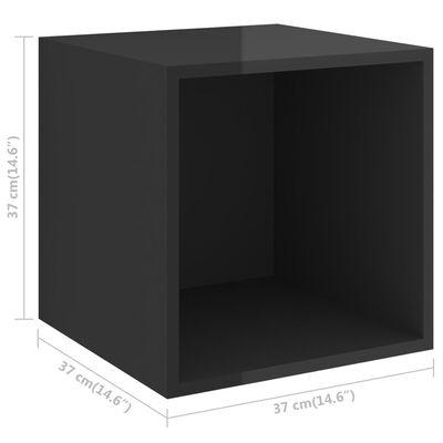 vidaXL TV-skåp 4 delar svart högglans spånskiva