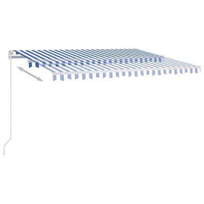 vidaXL Markis manuellt infällbar 450x350 cm blå och vit