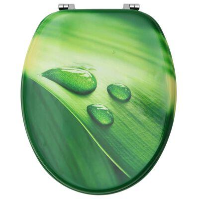 vidaXL Toalettsits med lock MDF grön vattendroppar
