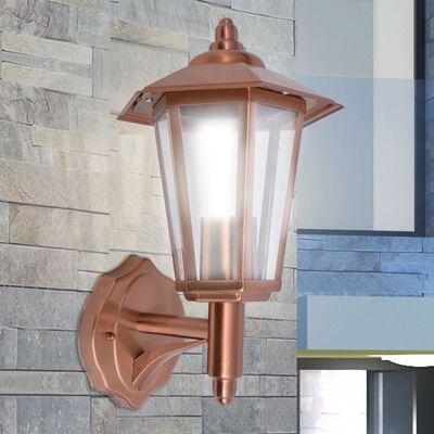 vidaXL Utomhusvägglykta uppåtriktad rostfritt stål koppar